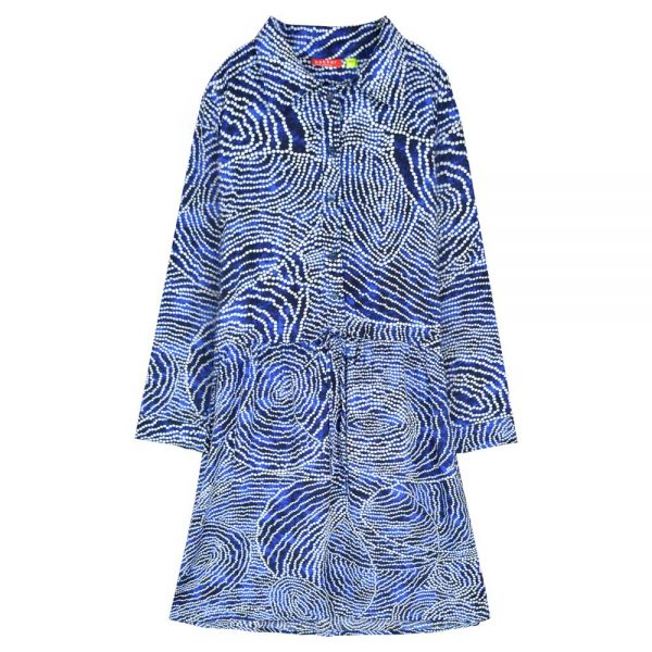 Dress Adele Collar Batik Biru Front view